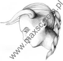Ekslibris zodiakalny byk  kobieta