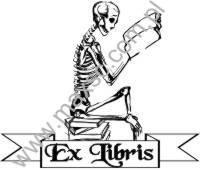 Ekslibris wzór śmierć z książką