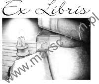 Exlibris wzór świeca oświetlajaca książkę