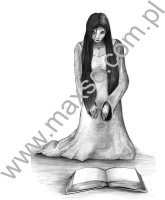 Kobieta z książką  - wzór ekslibrisu