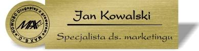 Identyfikator grawerowany z logo w okręgu