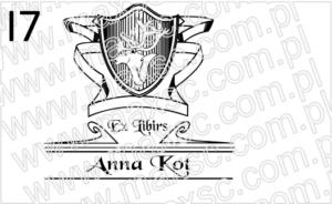 Grafika do ex libris herb ze wstęgami