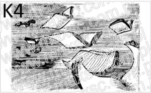 Wzór stempla lub pieczątki ex libris latające książki
