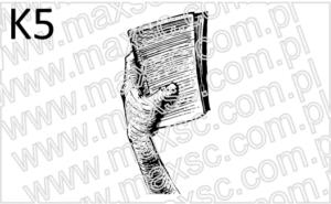 Ex libris z grafika: ręka z książką
