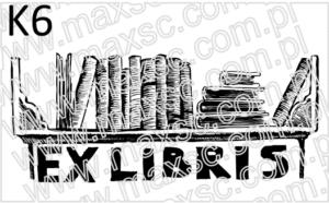 Wzór grafiki do pieczątki ex libris: półka z ksiązkami