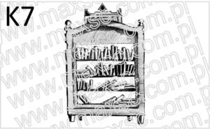 Grafika exlibris regał z książkami
