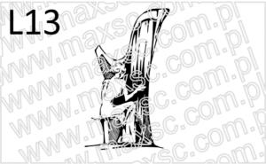 Grafika ekslibris z harfistką