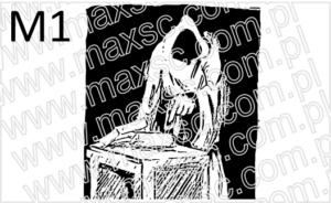 Wzór ex libris mroczna postać z książką