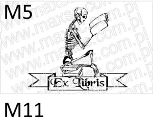 Ekslibris projekt gotowy śmierć czytająca książkę