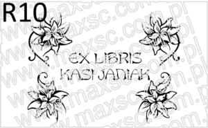 Exlibris z kwiatami w rogach