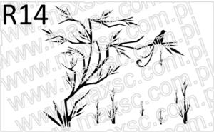 Japoński motyw roślinny i ptaki