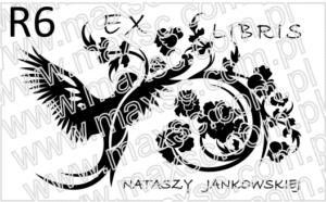 Grafika ex libris ptak i motyw roślinny v 2
