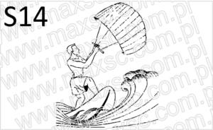 Kitesurfing grafika gotowa do pieczątki ekslibris