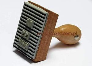 Stempel drewniany drukarenka z gumą ryflowaną