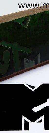 Stempel drewniany duzy z grafiką