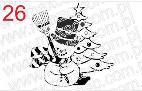 Grafika świąteczna bałwan i choinka